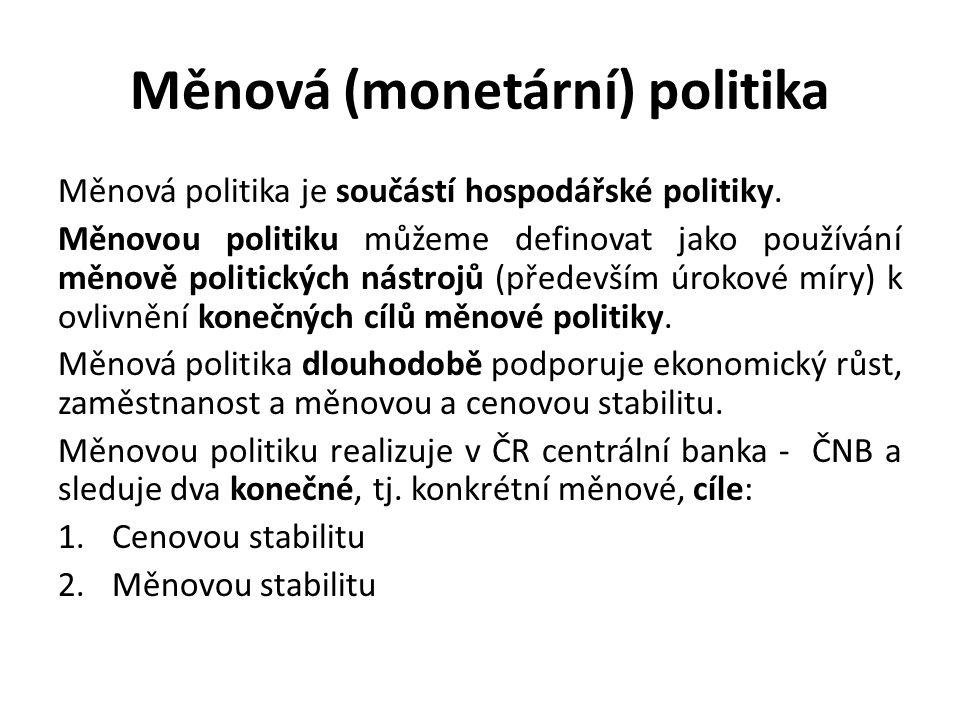 Měnová (monetární) politika Měnová politika je součástí hospodářské politiky.