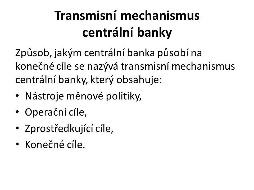 Transmisní mechanismus centrální banky Způsob, jakým centrální banka působí na konečné cíle se nazývá transmisní mechanismus centrální banky, který obsahuje: Nástroje měnové politiky, Operační cíle, Zprostředkující cíle, Konečné cíle.