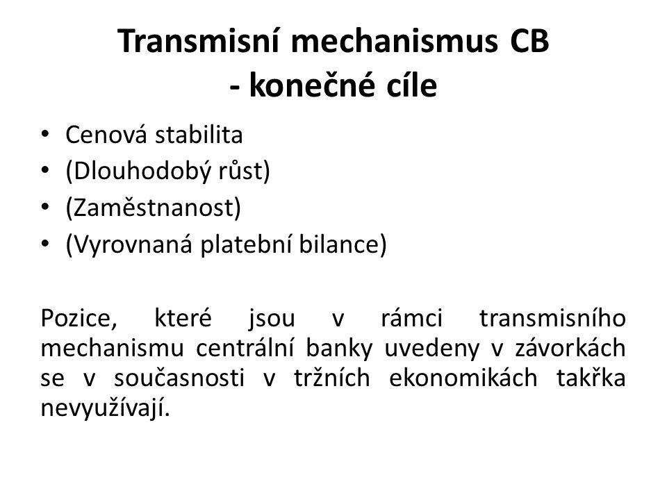Transmisní mechanismus CB - konečné cíle Cenová stabilita (Dlouhodobý růst) (Zaměstnanost) (Vyrovnaná platební bilance) Pozice, které jsou v rámci transmisního mechanismu centrální banky uvedeny v závorkách se v současnosti v tržních ekonomikách takřka nevyužívají.