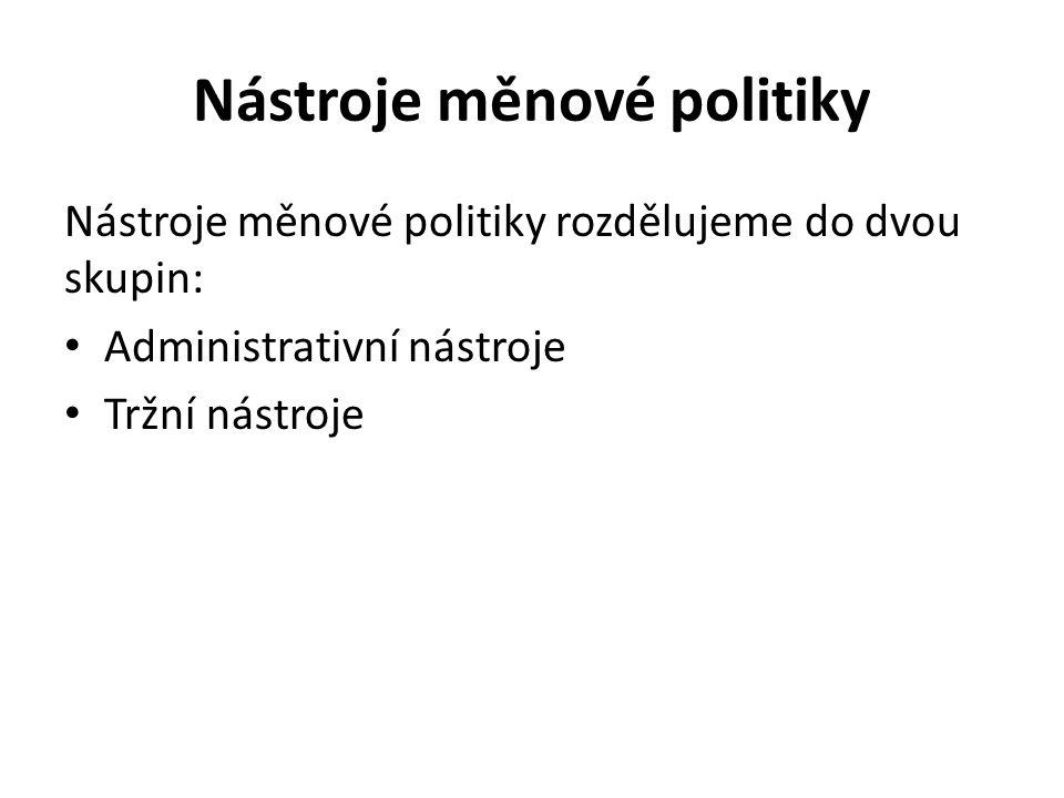 Nástroje měnové politiky Nástroje měnové politiky rozdělujeme do dvou skupin: Administrativní nástroje Tržní nástroje