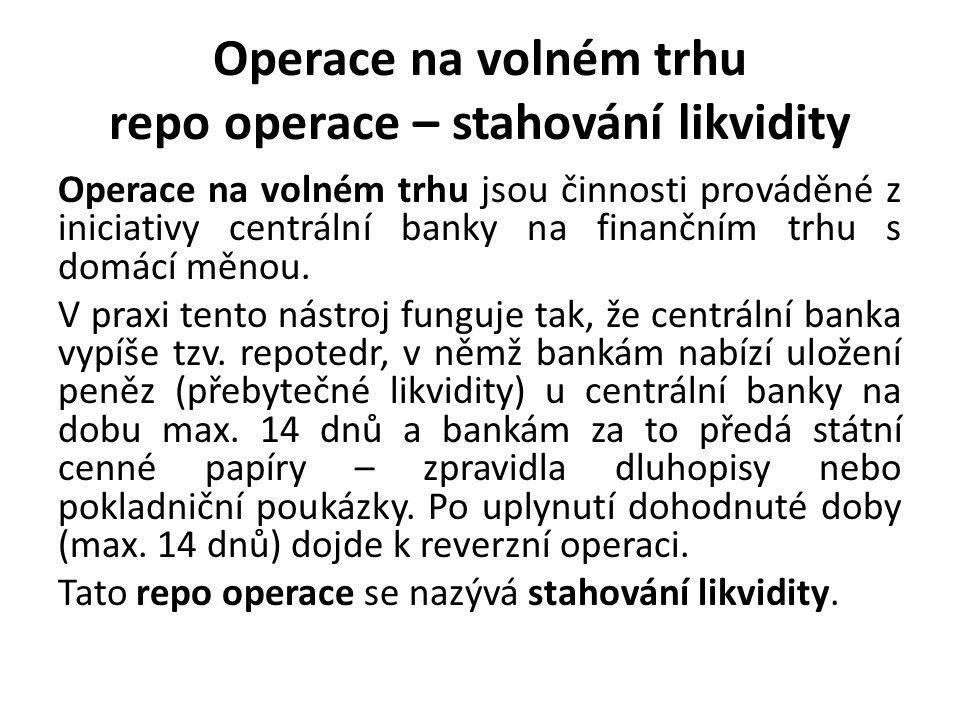 Operace na volném trhu repo operace – stahování likvidity Operace na volném trhu jsou činnosti prováděné z iniciativy centrální banky na finančním trhu s domácí měnou.