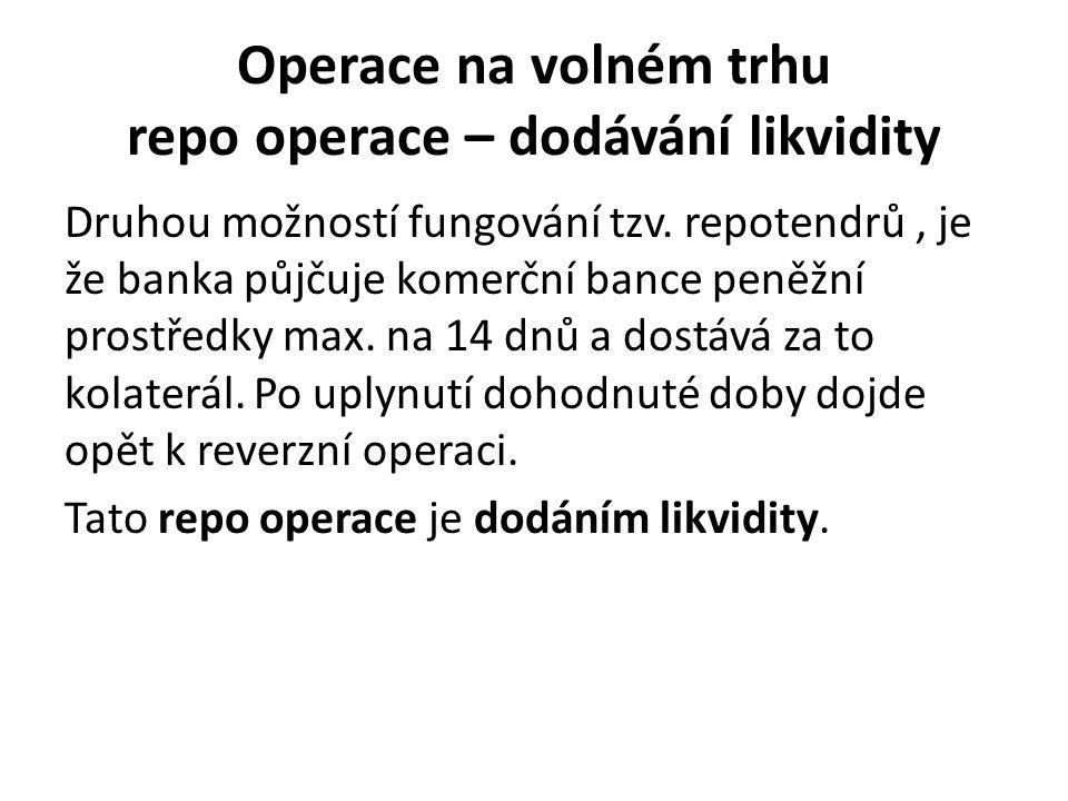 Operace na volném trhu repo operace – dodávání likvidity Druhou možností fungování tzv.