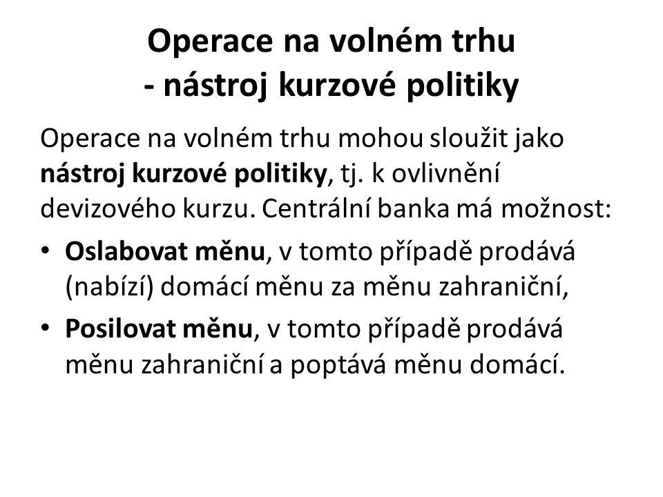 Operace na volném trhu - nástroj kurzové politiky Operace na volném trhu mohou sloužit jako nástroj kurzové politiky, tj.