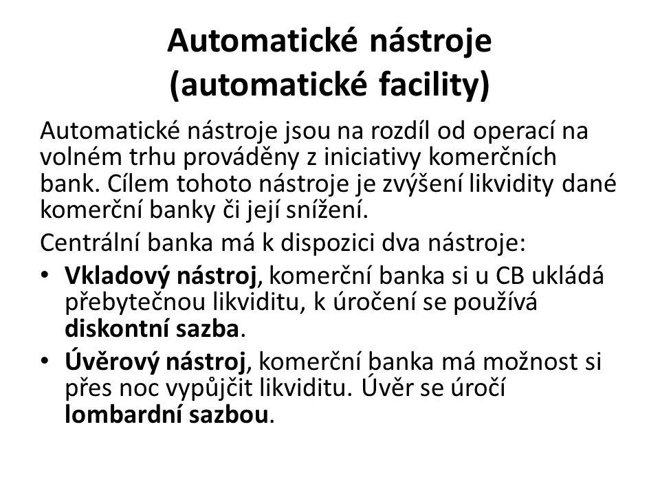 Automatické nástroje (automatické facility) Automatické nástroje jsou na rozdíl od operací na volném trhu prováděny z iniciativy komerčních bank.