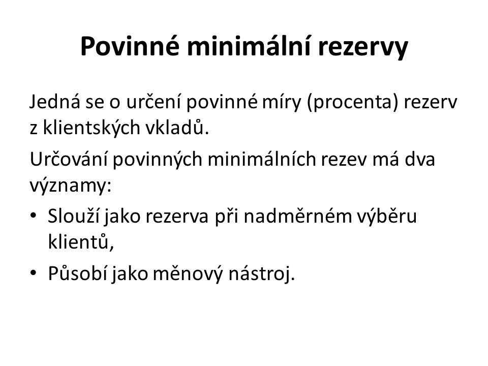 Povinné minimální rezervy Jedná se o určení povinné míry (procenta) rezerv z klientských vkladů.