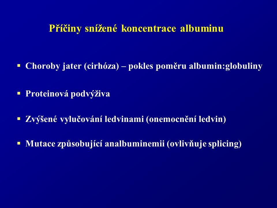 Příčiny snížené koncentrace albuminu  Choroby jater (cirhóza) – pokles poměru albumin:globuliny  Proteinová podvýživa  Zvýšené vylučování ledvinami (onemocnění ledvin)  Mutace způsobující analbuminemii (ovlivňuje splicing)