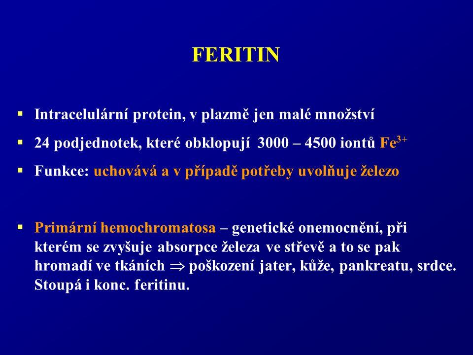FERITIN  Intracelulární protein, v plazmě jen malé množství  24 podjednotek, které obklopují 3000 – 4500 iontů Fe 3+  Funkce: uchovává a v případě potřeby uvolňuje železo  Primární hemochromatosa – genetické onemocnění, při kterém se zvyšuje absorpce železa ve střevě a to se pak hromadí ve tkáních  poškození jater, kůže, pankreatu, srdce.