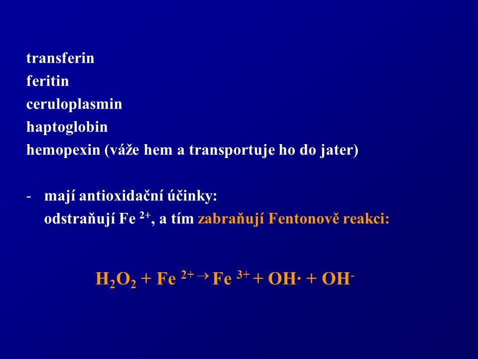 transferin feritin ceruloplasmin haptoglobin hemopexin (váže hem a transportuje ho do jater) -mají antioxidační účinky: odstraňují Fe 2+, a tím zabraňují Fentonově reakci: H 2 O 2 + Fe 2+  Fe 3+ + OH· + OH -