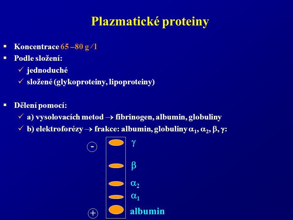 Plazmatické proteiny  Koncentrace 65 –80 g  l  Podle složení: jednoduché složené (glykoproteiny, lipoproteiny)  Dělení pomocí: a) vysolovacích metod  fibrinogen, albumin, globuliny b) elektroforézy  frakce: albumin, globuliny  1,  2, ,  : - +  2 2  1 albumin
