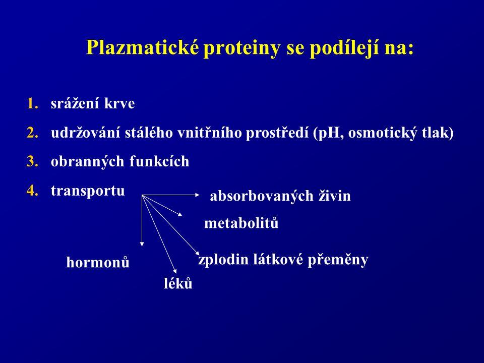 Plazmatické proteiny se podílejí na: 1.srážení krve 2.udržování stálého vnitřního prostředí (pH, osmotický tlak) 3.obranných funkcích 4.transportu metabolitů hormonů zplodin látkové přeměny absorbovaných živin léků