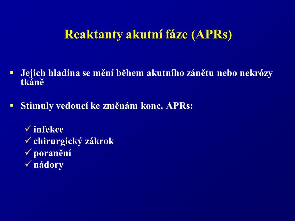 Reaktanty akutní fáze (APRs)  Jejich hladina se mění během akutního zánětu nebo nekrózy tkáně  Stimuly vedoucí ke změnám konc. APRs: infekce chirurg