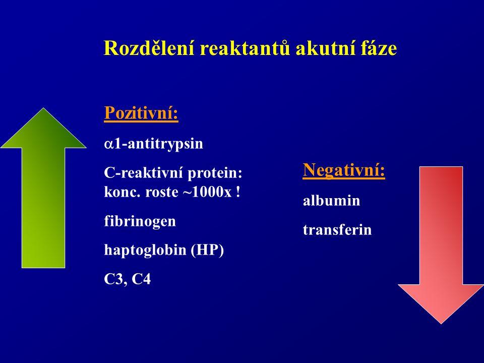 Rozdělení reaktantů akutní fáze Negativní: albumin transferin Pozitivní:  1-antitrypsin C-reaktivní protein: konc. roste ~1000x ! fibrinogen haptoglo