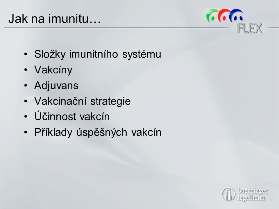 Složky imunitního systému Vakcíny Adjuvans Vakcinační strategie Účinnost vakcín Příklady úspěšných vakcín Jak na imunitu…