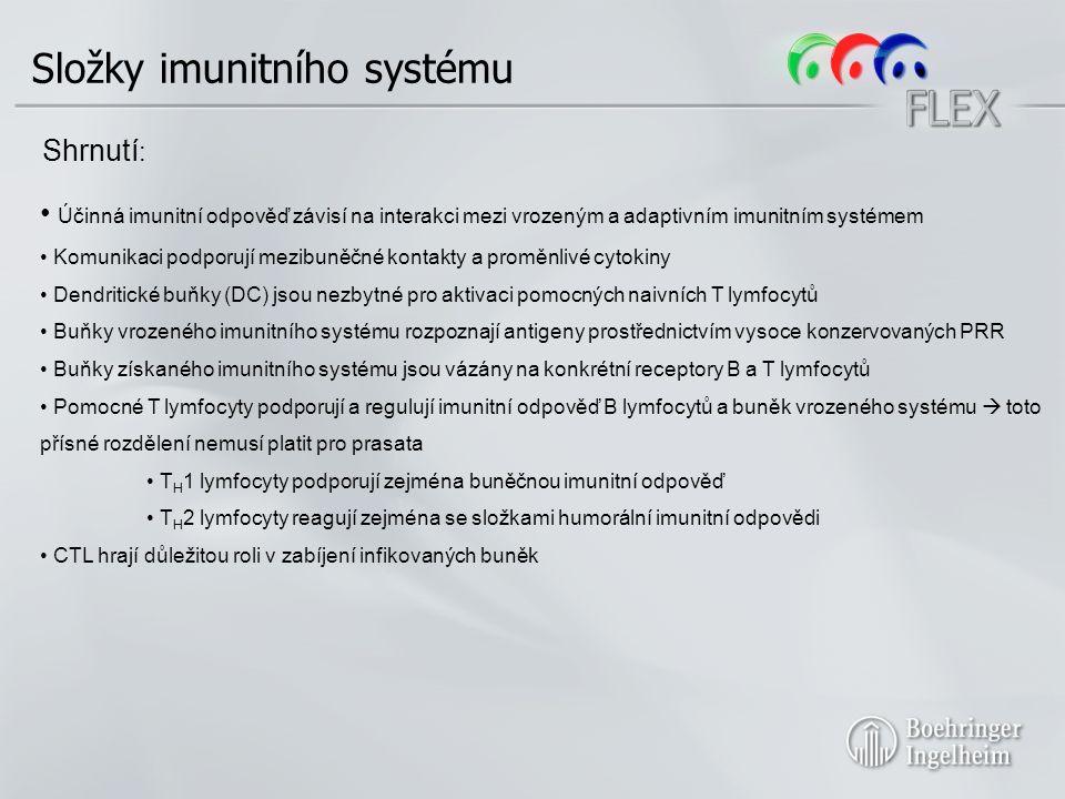 Účinná imunitní odpověď závisí na interakci mezi vrozeným a adaptivním imunitním systémem Komunikaci podporují mezibuněčné kontakty a proměnlivé cytokiny Dendritické buňky (DC) jsou nezbytné pro aktivaci pomocných naivních T lymfocytů Buňky vrozeného imunitního systému rozpoznají antigeny prostřednictvím vysoce konzervovaných PRR Buňky získaného imunitního systému jsou vázány na konkrétní receptory B a T lymfocytů Pomocné T lymfocyty podporují a regulují imunitní odpověď B lymfocytů a buněk vrozeného systému  toto přísné rozdělení nemusí platit pro prasata T H 1 lymfocyty podporují zejména buněčnou imunitní odpověď T H 2 lymfocyty reagují zejména se složkami humorální imunitní odpovědi CTL hrají důležitou roli v zabíjení infikovaných buněk Složky imunitního systému Shrnutí :