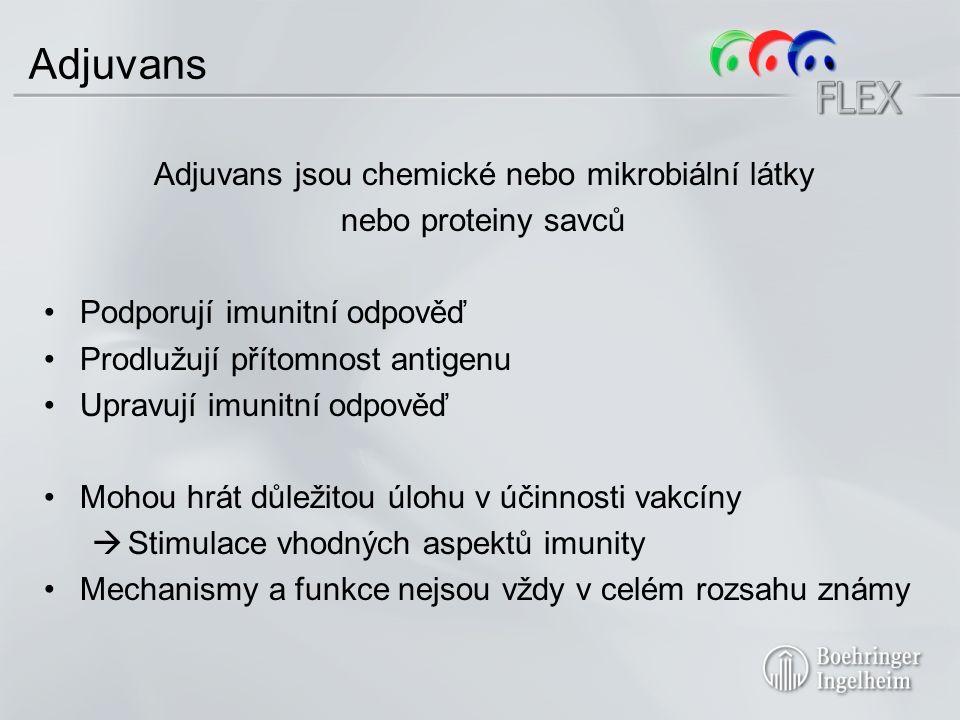 Adjuvans Adjuvans jsou chemické nebo mikrobiální látky nebo proteiny savců Podporují imunitní odpověď Prodlužují přítomnost antigenu Upravují imunitní odpověď Mohou hrát důležitou úlohu v účinnosti vakcíny  Stimulace vhodných aspektů imunity Mechanismy a funkce nejsou vždy v celém rozsahu známy