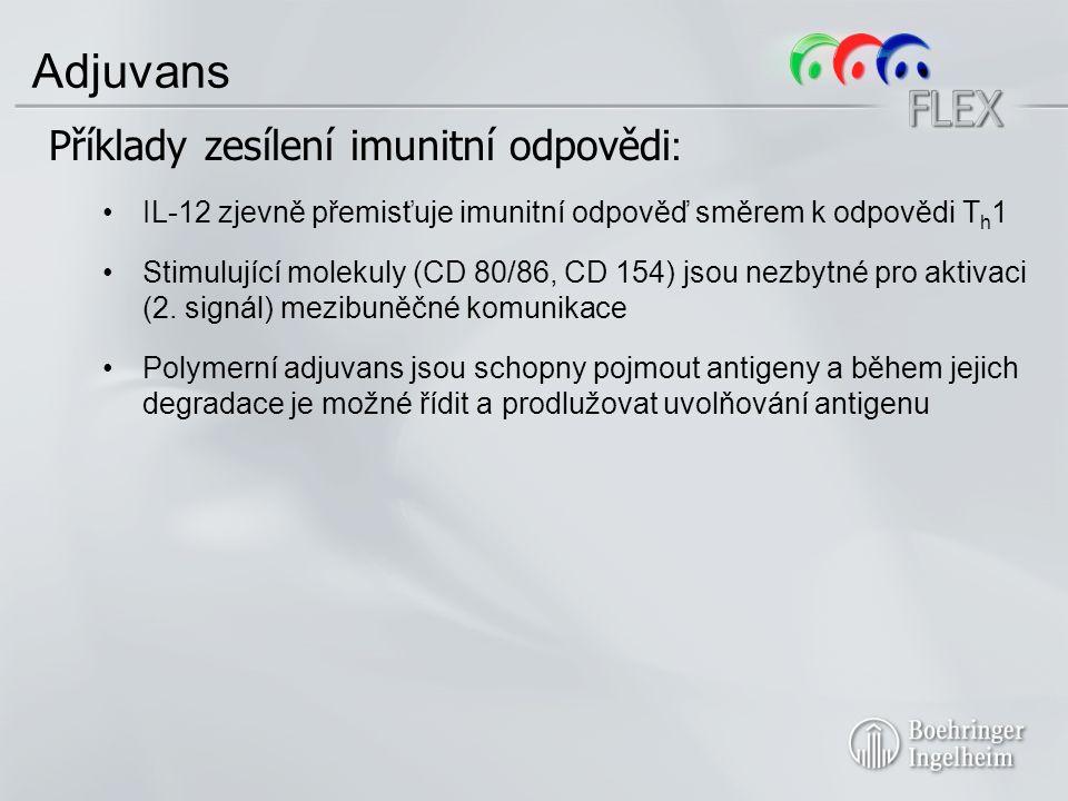 Adjuvans Příklady zesílení imunitní odpovědi : IL-12 zjevně přemisťuje imunitní odpověď směrem k odpovědi T h 1 Stimulující molekuly (CD 80/86, CD 154) jsou nezbytné pro aktivaci (2.
