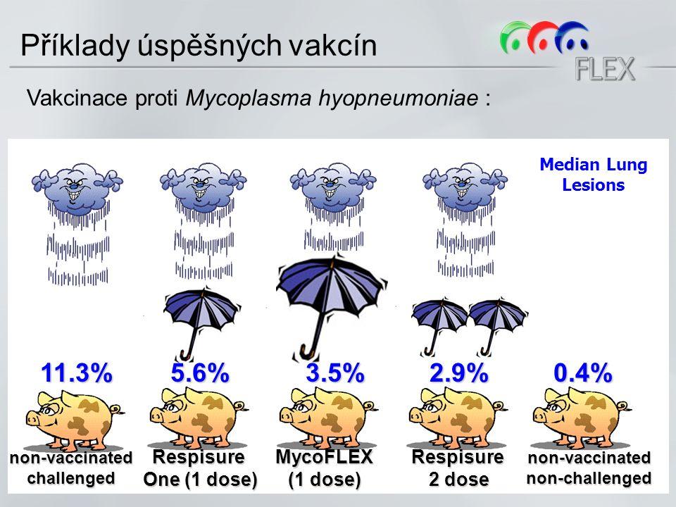 non-vaccinatedchallenged Respisure One (1 dose) MycoFLEX (1 dose) Respisure 2 dose non-vaccinatednon-challenged 11.3%5.6%3.5%2.9%0.4% Median Lung Lesions Příklady úspěšných vakcín Vakcinace proti Mycoplasma hyopneumoniae :