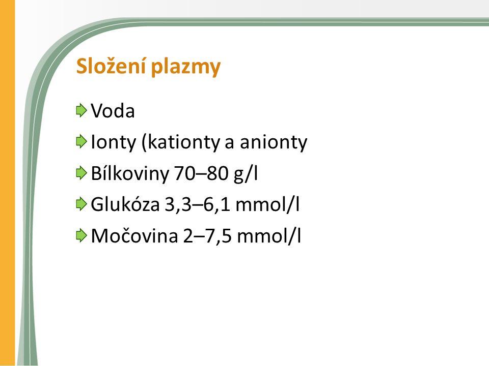 Složení plazmy Voda Ionty (kationty a anionty Bílkoviny 70–80 g/l Glukóza 3,3–6,1 mmol/l Močovina 2–7,5 mmol/l