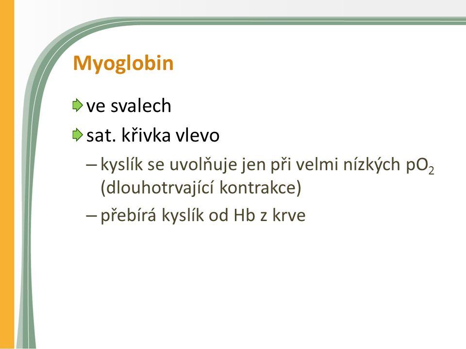 Myoglobin ve svalech sat. křivka vlevo – kyslík se uvolňuje jen při velmi nízkých pO 2 (dlouhotrvající kontrakce) – přebírá kyslík od Hb z krve