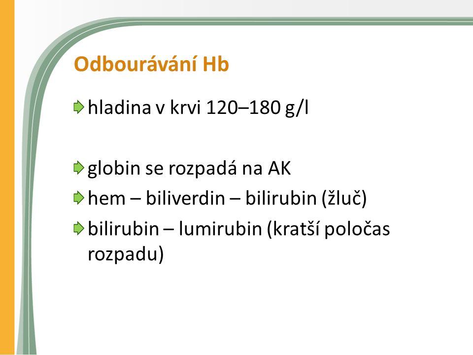 Odbourávání Hb hladina v krvi 120–180 g/l globin se rozpadá na AK hem – biliverdin – bilirubin (žluč) bilirubin – lumirubin (kratší poločas rozpadu)