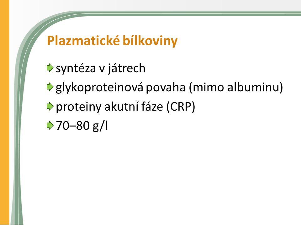 Plazmatické bílkoviny syntéza v játrech glykoproteinová povaha (mimo albuminu) proteiny akutní fáze (CRP) 70–80 g/l