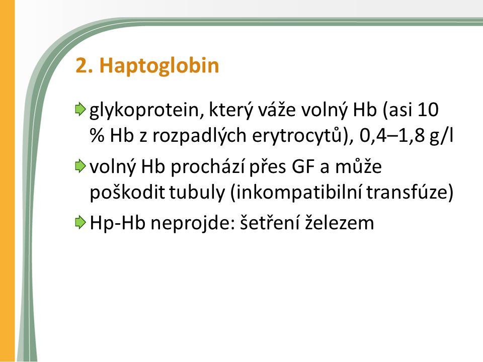 2. Haptoglobin glykoprotein, který váže volný Hb (asi 10 % Hb z rozpadlých erytrocytů), 0,4–1,8 g/l volný Hb prochází přes GF a může poškodit tubuly (