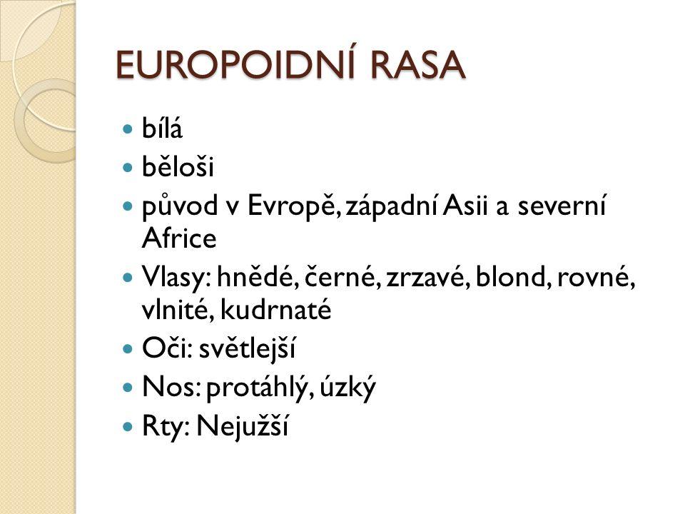 EUROPOIDNÍ RASA bílá běloši původ v Evropě, západní Asii a severní Africe Vlasy: hnědé, černé, zrzavé, blond, rovné, vlnité, kudrnaté Oči: světlejší Nos: protáhlý, úzký Rty: Nejužší