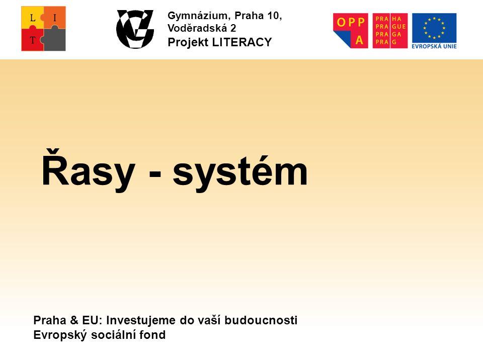 Praha & EU: Investujeme do vaší budoucnosti Evropský sociální fond Gymnázium, Praha 10, Voděradská 2 Projekt LITERACY Řasy - systém