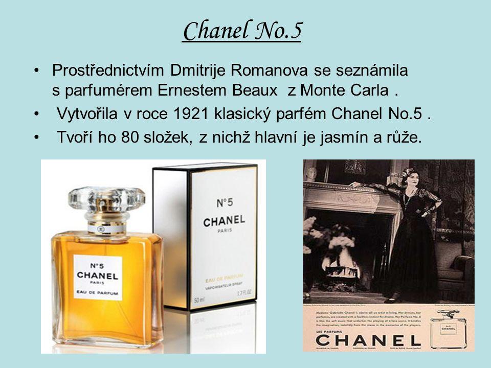 Chanel No.5 Prostřednictvím Dmitrije Romanova se seznámila s parfumérem Ernestem Beaux z Monte Carla.