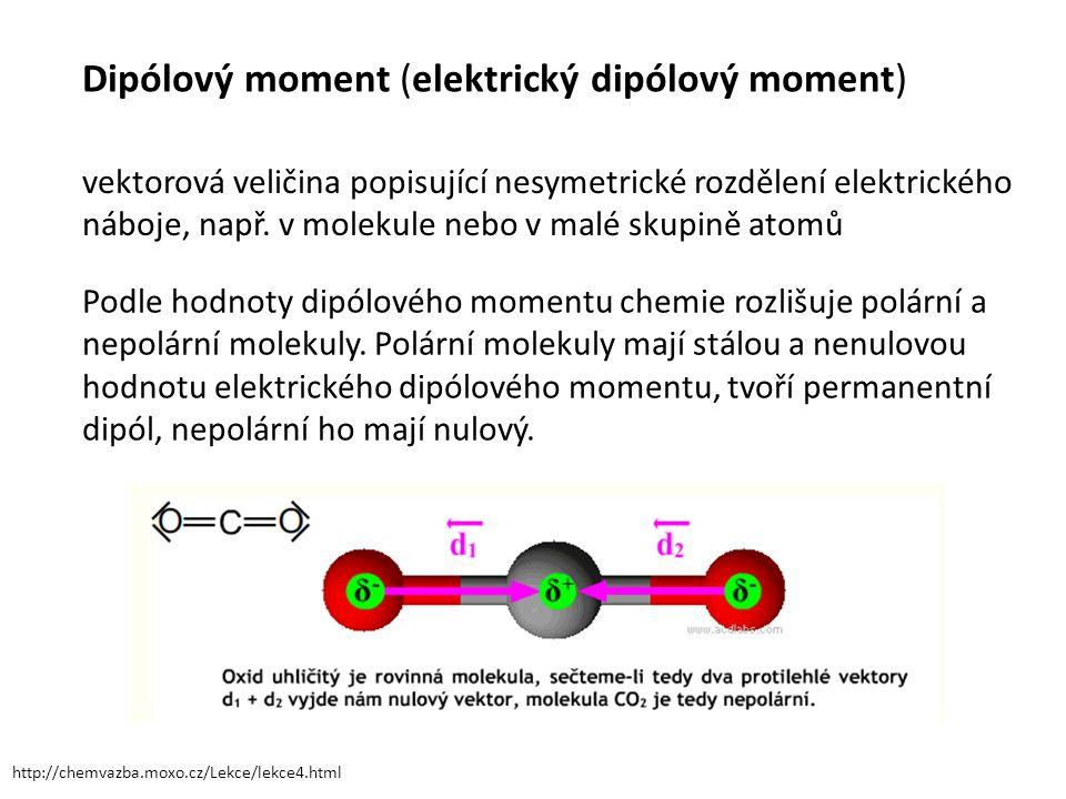 Dipólový moment (elektrický dipólový moment) vektorová veličina popisující nesymetrické rozdělení elektrického náboje, např.