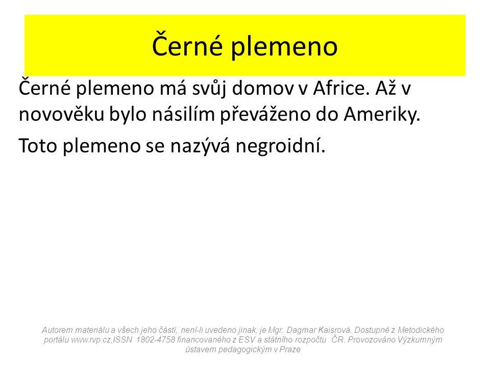 Černé plemeno Černé plemeno má svůj domov v Africe.