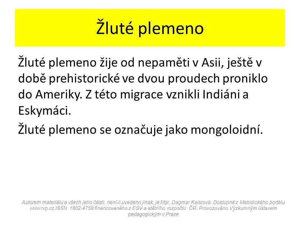 Žluté plemeno Žluté plemeno žije od nepaměti v Asii, ještě v době prehistorické ve dvou proudech proniklo do Ameriky. Z této migrace vznikli Indiáni a