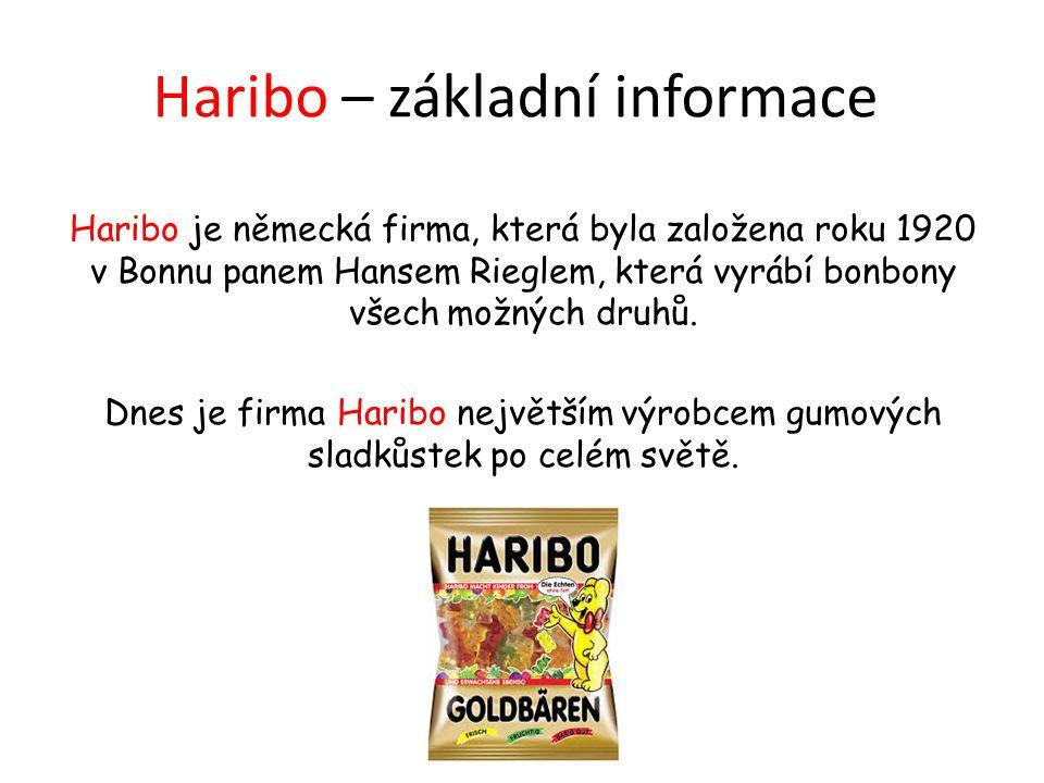 Haribo – základní informace Haribo je německá firma, která byla založena roku 1920 v Bonnu panem Hansem Rieglem, která vyrábí bonbony všech možných druhů.