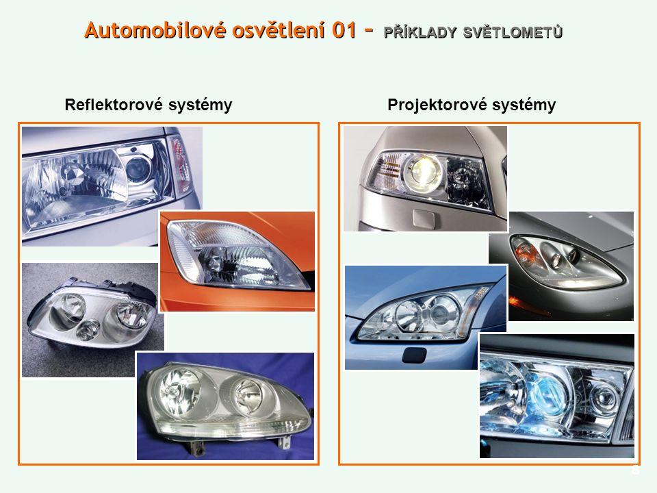 9 Automobilové osvětlení 01 – SVĚTELNÉ SVAZKY Potkávací Mlhovka Dálkový
