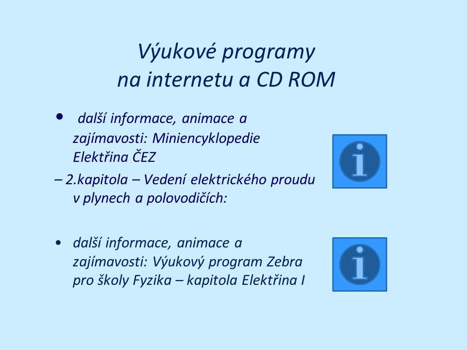 Výukové programy na internetu a CD ROM další informace, animace a zajímavosti: Miniencyklopedie Elektřina ČEZ – 2.kapitola – Vedení elektrického proudu v plynech a polovodičích: další informace, animace a zajímavosti: Výukový program Zebra pro školy Fyzika – kapitola Elektřina I