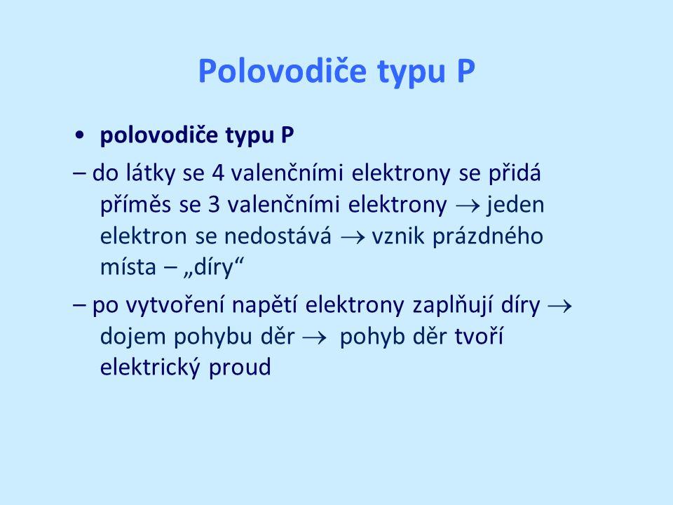 """Polovodiče typu P polovodiče typu P – do látky se 4 valenčními elektrony se přidá příměs se 3 valenčními elektrony  jeden elektron se nedostává  vznik prázdného místa – """"díry – po vytvoření napětí elektrony zaplňují díry  dojem pohybu děr  pohyb děr tvoří elektrický proud"""