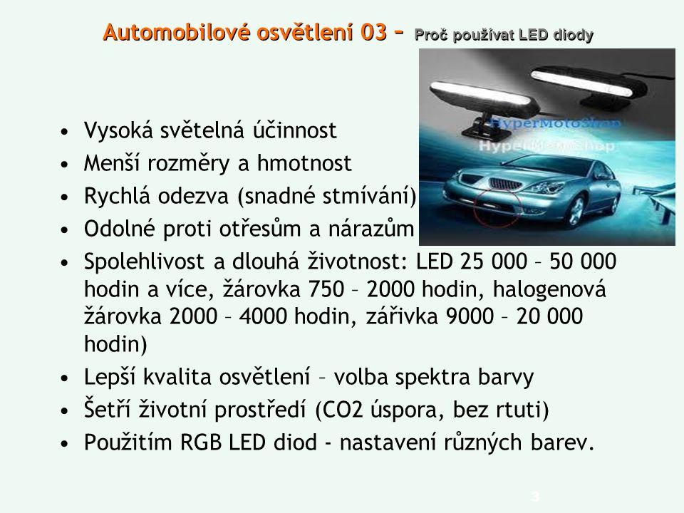 Automobilové osvětlení 03 – Proč používat LED diody Vysoká světelná účinnost Menší rozměry a hmotnost Rychlá odezva (snadné stmívání) Odolné proti otřesům a nárazům Spolehlivost a dlouhá životnost: LED 25 000 – 50 000 hodin a více, žárovka 750 – 2000 hodin, halogenová žárovka 2000 – 4000 hodin, zářivka 9000 – 20 000 hodin) Lepší kvalita osvětlení – volba spektra barvy Šetří životní prostředí (CO2 úspora, bez rtuti) Použitím RGB LED diod - nastavení různých barev.