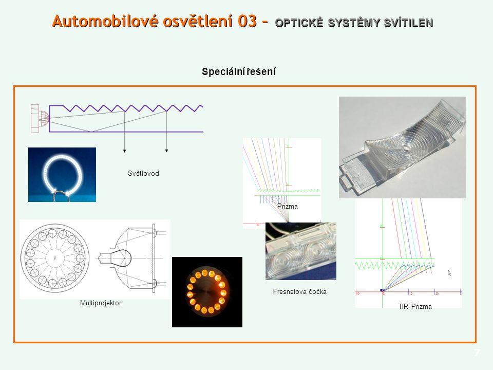 Speciální řešení 7 Automobilové osvětlení 03 – OPTICKÉ SYSTÉMY SVÍTILEN Světlovod Prizma TIR Prizma Multiprojektor Fresnelova čočka
