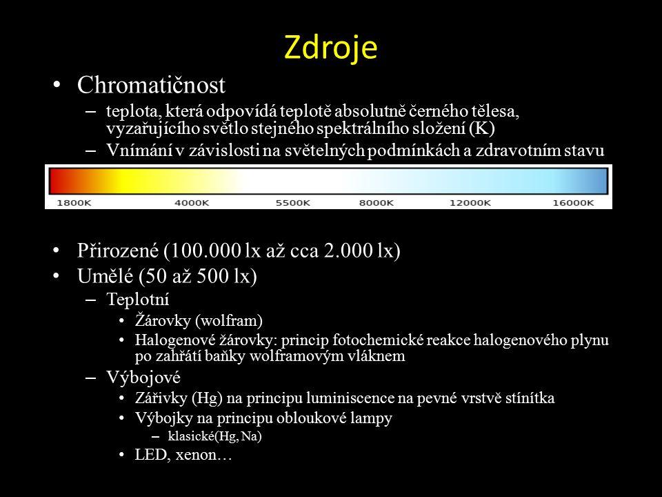 Zdroje Chromatičnost – teplota, která odpovídá teplotě absolutně černého tělesa, vyzařujícího světlo stejného spektrálního složení (K) – Vnímání v závislosti na světelných podmínkách a zdravotním stavu Přirozené (100.000 lx až cca 2.000 lx) Umělé (50 až 500 lx) – Teplotní Žárovky (wolfram) Halogenové žárovky: princip fotochemické reakce halogenového plynu po zahřátí baňky wolframovým vláknem – Výbojové Zářivky (Hg) na principu luminiscence na pevné vrstvě stínítka Výbojky na principu obloukové lampy – klasické(Hg, Na) LED, xenon…