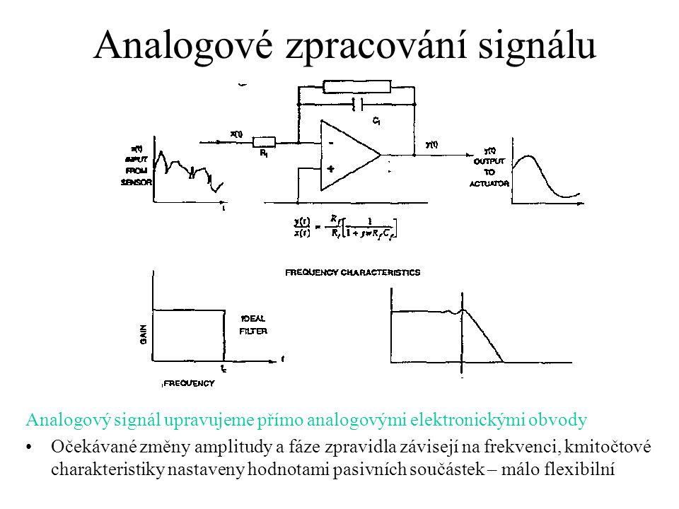 Analogové zpracování signálu Analogový signál upravujeme přímo analogovými elektronickými obvody Očekávané změny amplitudy a fáze zpravidla závisejí na frekvenci, kmitočtové charakteristiky nastaveny hodnotami pasivních součástek – málo flexibilní