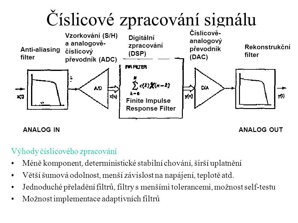 Číslicové zpracování signálu Výhody číslicového zpracování Méně komponent, deterministické stabilní chování, širší uplatnění Větší šumová odolnost, menší závislost na napájení, teplotě atd.