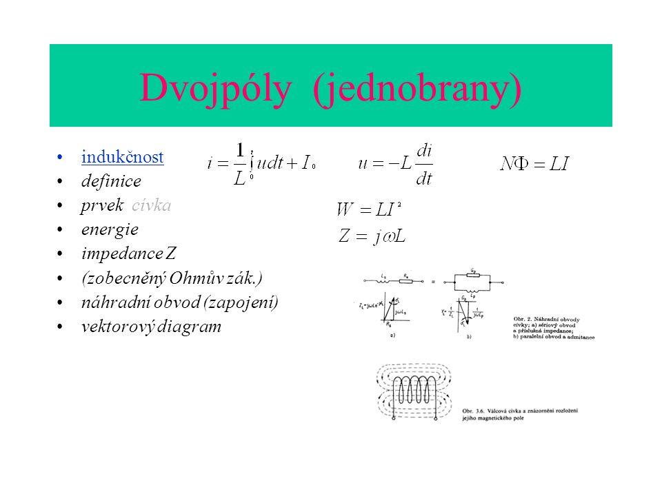 Dvojpóly (jednobrany) indukčnost definice prvek cívka energie impedance Z (zobecněný Ohmův zák.) náhradní obvod (zapojení) vektorový diagram