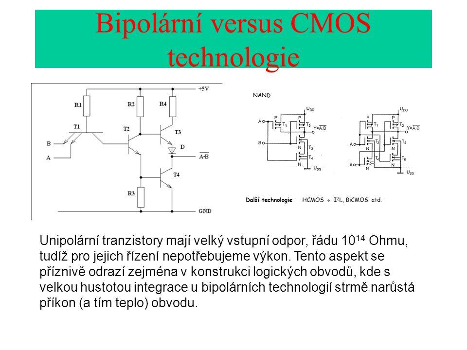 Bipolární versus CMOS technologie Unipolární tranzistory mají velký vstupní odpor, řádu 10 14 Ohmu, tudíž pro jejich řízení nepotřebujeme výkon.