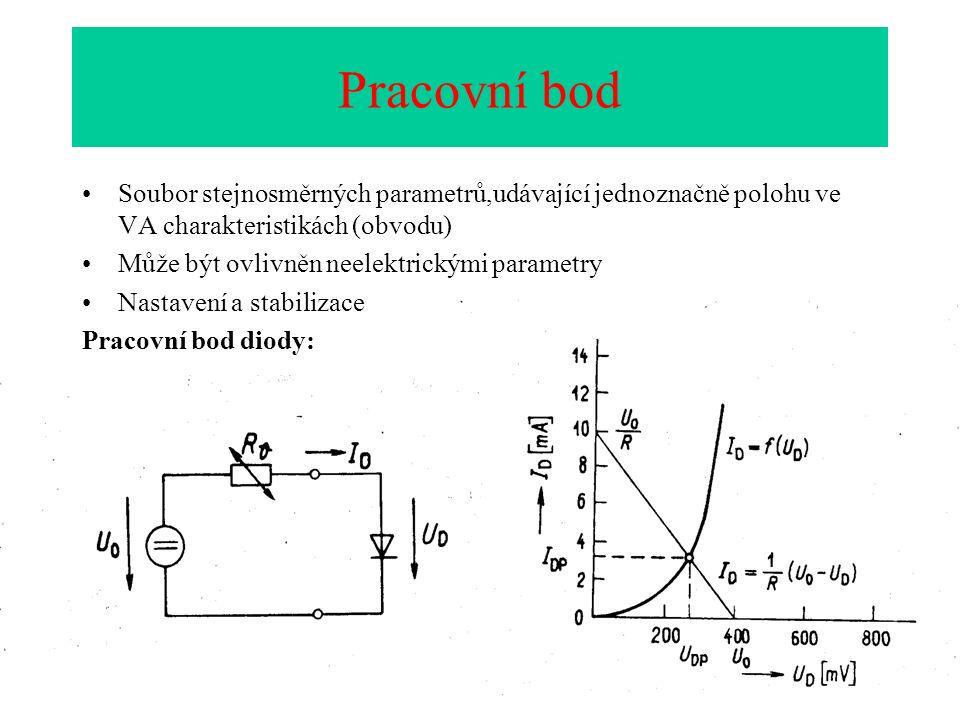 Pracovní bod Soubor stejnosměrných parametrů,udávající jednoznačně polohu ve VA charakteristikách (obvodu) Může být ovlivněn neelektrickými parametry Nastavení a stabilizace Pracovní bod diody: