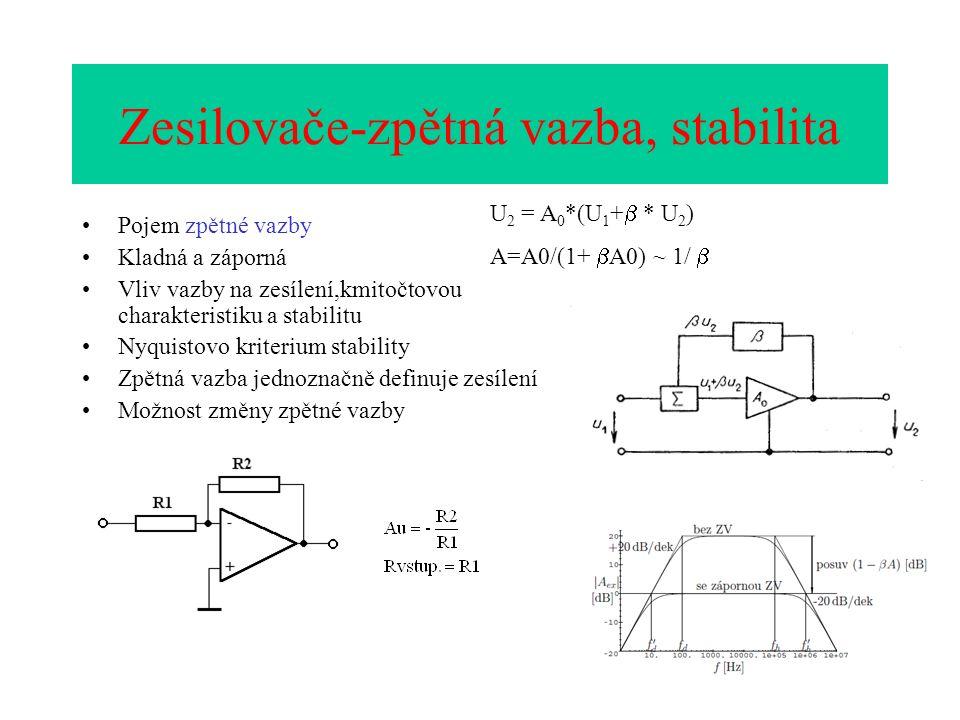 Zesilovače-zpětná vazba, stabilita Pojem zpětné vazby Kladná a záporná Vliv vazby na zesílení,kmitočtovou charakteristiku a stabilitu Nyquistovo kriterium stability Zpětná vazba jednoznačně definuje zesílení Možnost změny zpětné vazby U 2 = A 0 *(U 1 +  * U 2 ) A=A0/(1+  A0) ~ 1/ 
