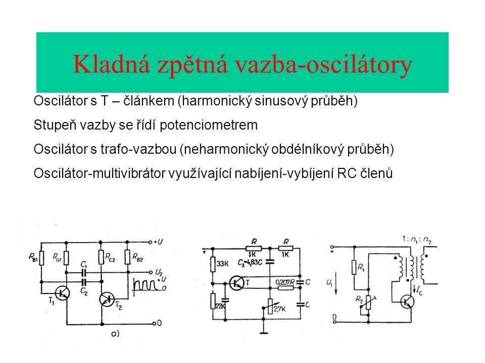 Kladná zpětná vazba-oscilátory Oscilátor s T – článkem (harmonický sinusový průběh) Stupeň vazby se řídí potenciometrem Oscilátor s trafo-vazbou (neharmonický obdélníkový průběh) Oscilátor-multivibrátor využívající nabíjení-vybíjení RC členů
