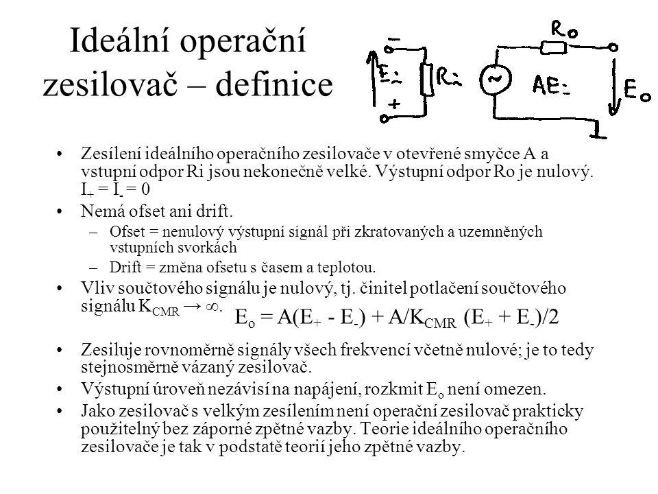 Ideální operační zesilovač – definice Zesílení ideálního operačního zesilovače v otevřené smyčce A a vstupní odpor Ri jsou nekonečně velké.