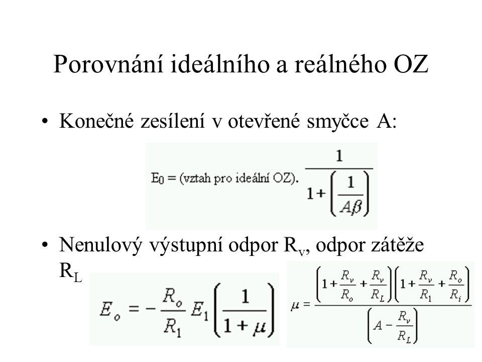 Porovnání ideálního a reálného OZ Konečné zesílení v otevřené smyčce A: Nenulový výstupní odpor R v, odpor zátěže R L