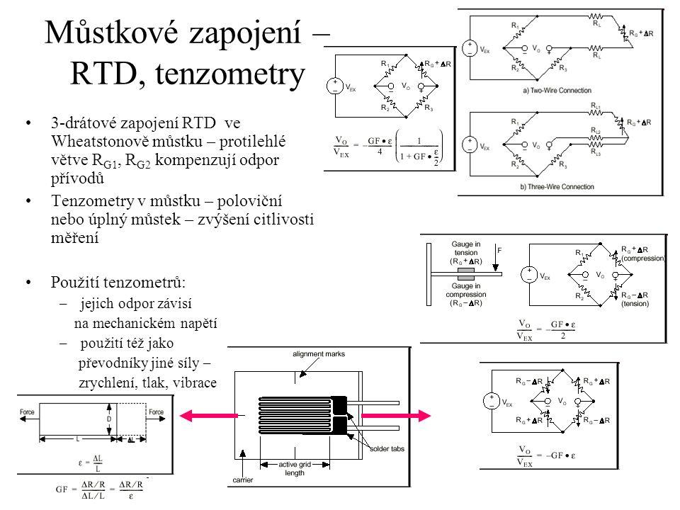 Můstkové zapojení – RTD, tenzometry 3-drátové zapojení RTD ve Wheatstonově můstku – protilehlé větve R G1, R G2 kompenzují odpor přívodů Tenzometry v můstku – poloviční nebo úplný můstek – zvýšení citlivosti měření Použití tenzometrů: –jejich odpor závisí na mechanickém napětí –použití též jako převodníky jiné síly – zrychlení, tlak, vibrace