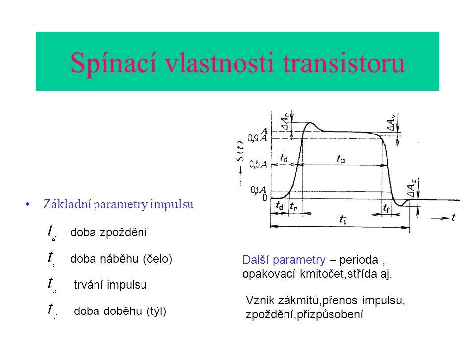 Spínací vlastnosti transistoru Základní parametry impulsu doba zpoždění doba náběhu (čelo) trvání impulsu doba doběhu (týl) Další parametry – perioda, opakovací kmitočet,střída aj.